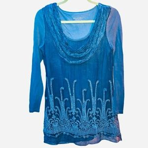 Soft Surroundings Oversized Teal Tunic Top